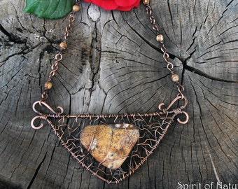 Picture jasper necklace with copper wire Hammered copper necklace Wire wrapped necklace Picture jasper jewelry Statement copper necklace