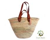 luxury straw bag French Basket, Moroccan Basket, french market basket, Beach Bag - french baskets luxury Basket Flat Leather Handle Double