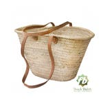 straw bag Handmade French Basket Moroccan Basket french market basket, Beach Bag - Natural Basket long Flat Leather Handle