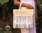 Miami Small Baskets white fringe leather French Basket, Moroccan Basket, straw bag, french market basket, Beach Bag, straw bag