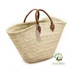 straw bag  French Basket french market basket, Beach Bag Handmade Moroccan Basket - Natural French Basket Handle leather