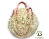 Round wicker basket Double leather handle, wicker basket, straw bag, French Baskets, Moroccan Basket, straw basket, Beach Bag