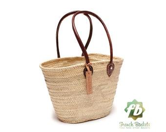 Straw bag French Basket Handle long - size Medium- leather french market basket, Beach Bag Handmade bag wovenbag Wholesale Moroccan Baskets