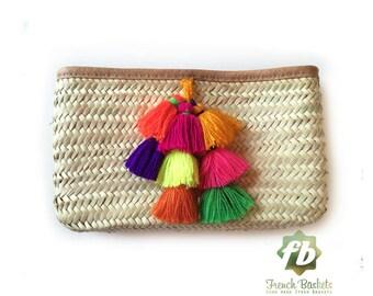 Pom Pom Straw Clutch French Baskets clutch bags Pom Pom necklace bell : Moroccan Basket, straw bag, pom pom clutch straw purse, Beach Bag