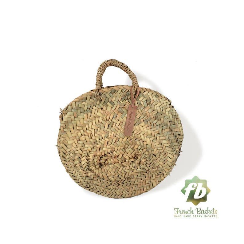 c223ab8efd Round French baskets chubby Small   wicker basket straw bag