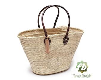 Straw bag French Basket Handle long size standard - leather french market basket, Beach Bag Handmade bag wovenbag Wholesale Moroccan Baskets