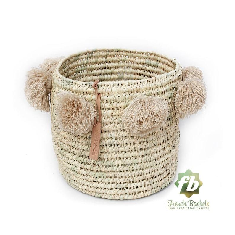 999369e04f Laundry basket wool Pom Pom sand   wicker basket straw bag