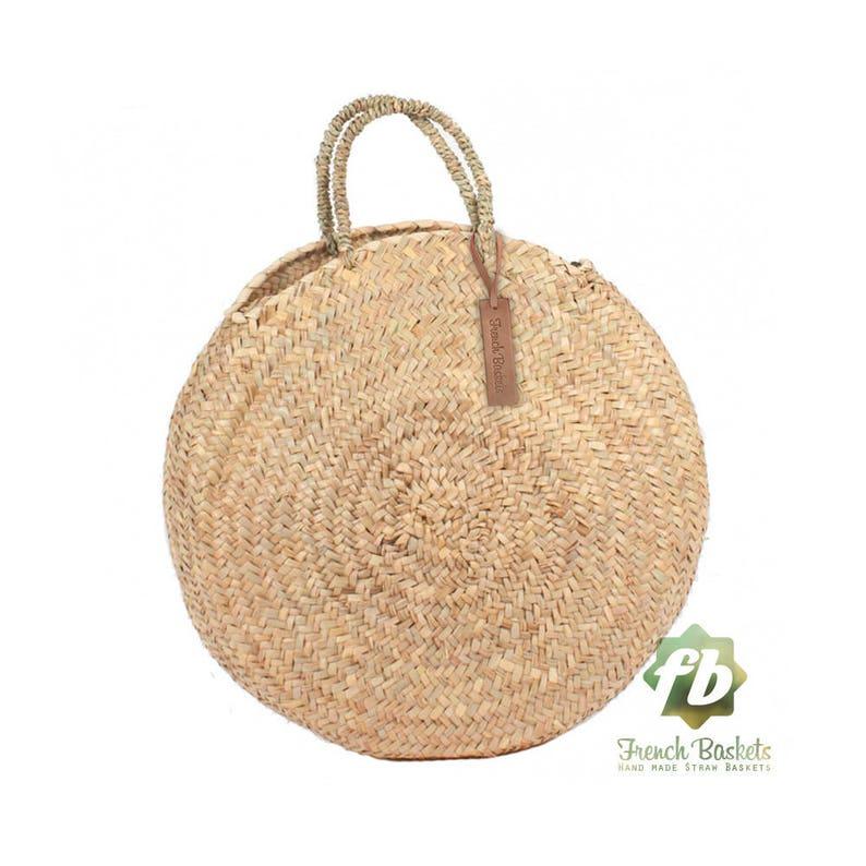 Round large wicker basket natural Handles : French Basket image 0