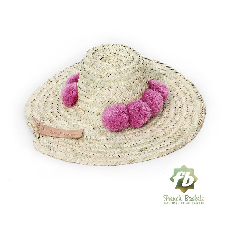 43589b56 Straw Hats pompom raspberry : French Basket straw Hats straw   Etsy