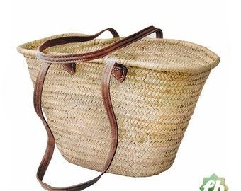 straw bag Handmade French Basket Moroccan Basket french market basket, Beach Bag - Natural Basket long Flat Leather Handle