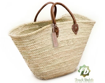straw bag  French Basket french market basket, Beach Bag Handmade Moroccan Basket - Natural French Basket Handle leather