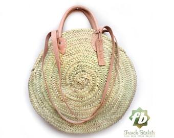 Round wicker basket Double leather handle, wicker basket, straw bag, French Baskets, Moroccan Basket, straw basket, Beach Bag