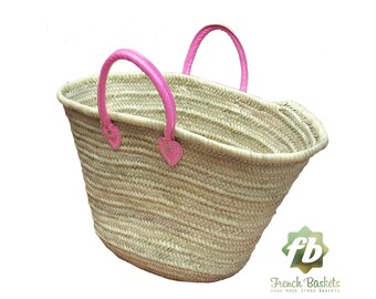 Straw Bag French Baskets Handles Pink Leather Handles, Beach Baskets, Straw tote, Moroccan Basket, french market basket