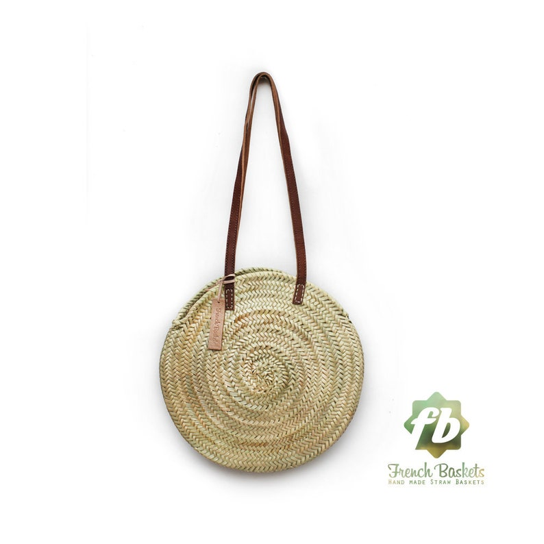 Round straw bag Handmade wicker bag French Basket Beach Bag image 0