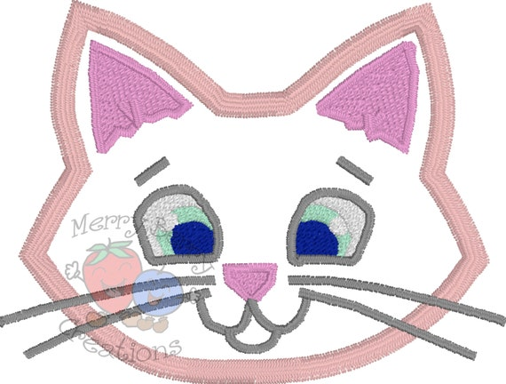 Kitty Cat Applique Design Kitten Applique Embroidery Etsy