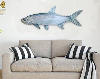 Wooden Fish Wall Art - Wood Fish Decor - Lake House Decor - Lake House Sign - Wood Fish - Custom Wooden Fish - Custom Lake House Decor - Art