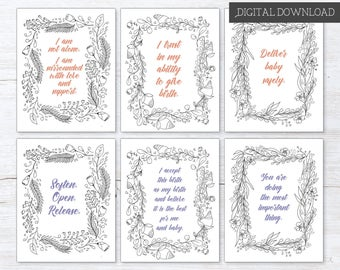 Birth Affirmation Cards - Labor Affirmation - C Section Affirmation - Birth Preparation - Baby Shower Game - Doula Gift - Coloring Pages