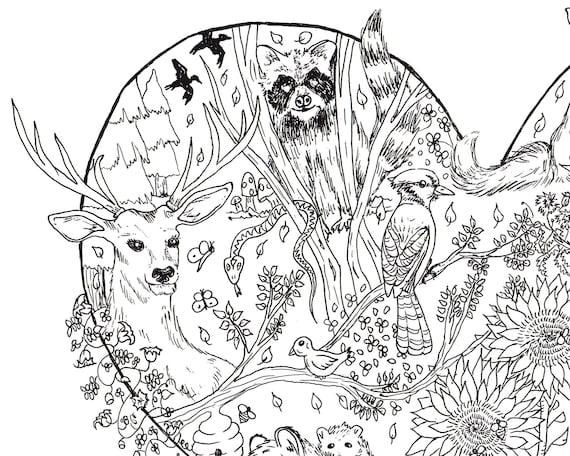 Animales para colorear colorear página de adultos para | Etsy