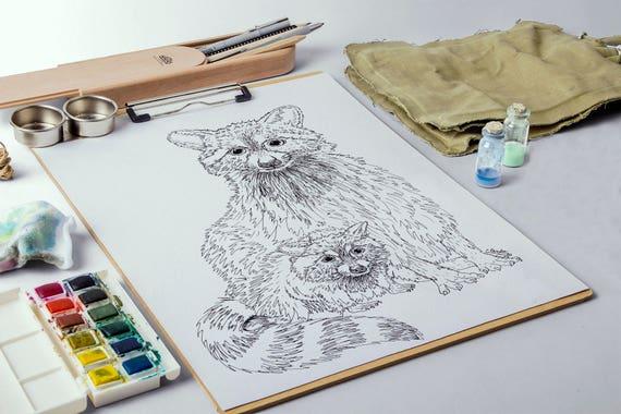 Animal adulto página de mapache para colorear colorear