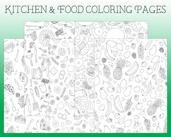 Cucina da colorare pagine da colorare spiare da colorare | Etsy