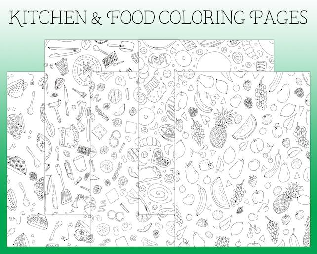 Colorear página para colorear de cocina Espío para | Etsy