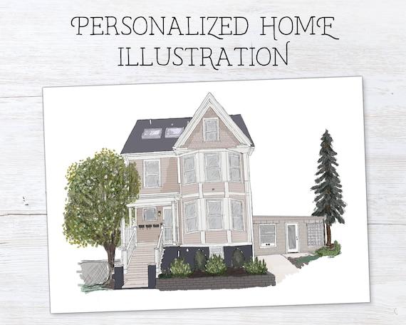 Printable Wall Art Home Portrait Digital Print Custom Poster Print Personalized House Portrait First Home Gift Housewarming Gift Print