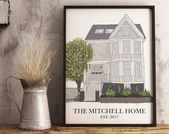 Custom House Drawing - Home Drawing From Photo - House Illustration - Unique Mothers Day Gift - House Painting From Photo - Painting of Home