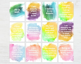 Affirmation Cards - Positive Affirmations - Words of Encouragement - Positive Quotes - Printable Quotes - Entreprenuer Gift - Affirmations