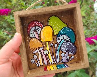 Mushroom Art - Mushroom Decor - Mushroom Wooden Display - Vintage Mushroom Decor - Mushroom Lover Gift - Rainbow Shrooms - Shroom Art