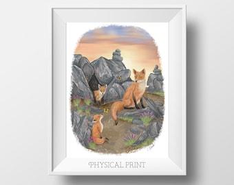 Fox Art Print - Fox Painting - Fox Art - Fox Family - Baby Fox Art - Nature Art - Adorable Baby Animals