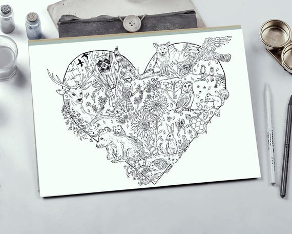 Forest Coloring Coloring Page Adult Coloring Page Etsy