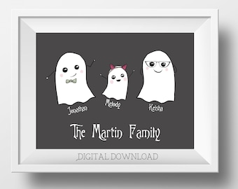 Personalized Ghost Family - Halloween Family Portrait - Ghost Wall Art - Ghost Family Sign - Family Wall Art - Custom Family Portrait - Boo!