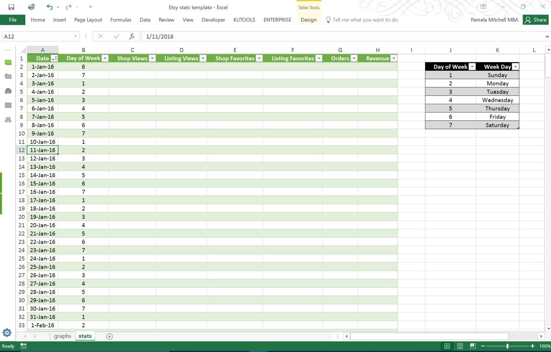 Etsy Stats-Excel-Kalkulationstabelle Vorlage   Etsy
