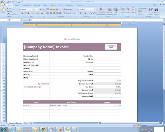 Dienstleistungen Rechnung Excel Kalkulationstabelle Vorlage Etsy