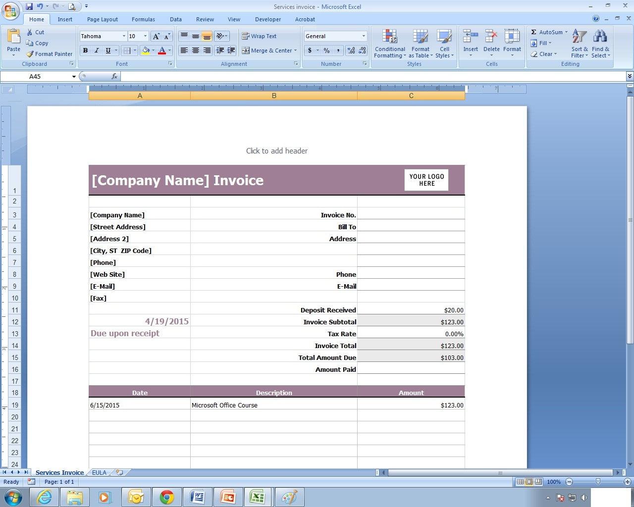 Dienstleistungen Rechnung Excel-Kalkulationstabelle Vorlage | Etsy