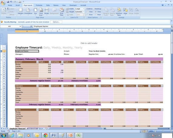 employee time sheet excel spreadsheet template etsy