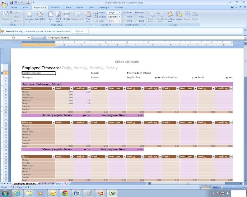 Calendario Presenze Excel.Modello Di Foglio Di Calcolo Excel Foglio Presenze Dipendente