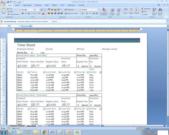 Mitarbeiter Arbeitszeittabelle Excel-Kalkulationstabelle | Etsy