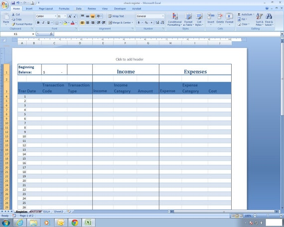 Income And Expense Register Excel Spreadsheet Template Etsy
