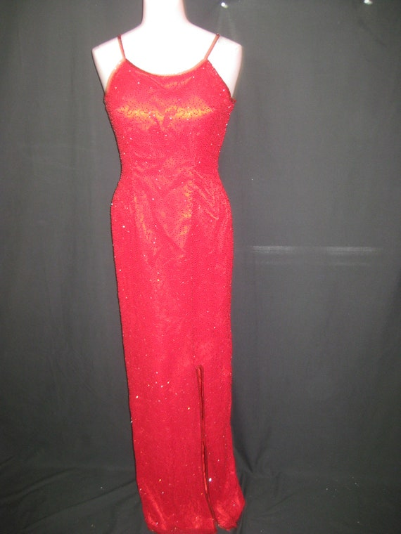 Red long gown#12519
