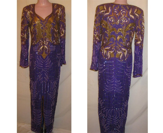 Purple & Gold gown #106