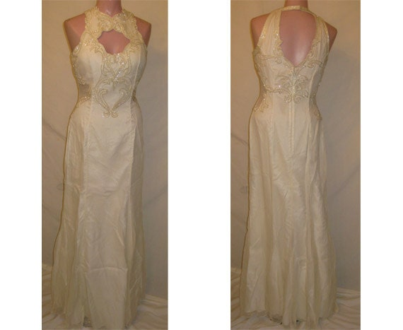 Long ivory beaded gown