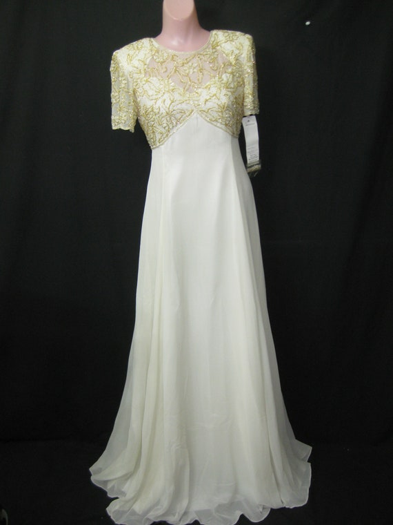 Ivory long gown#8864