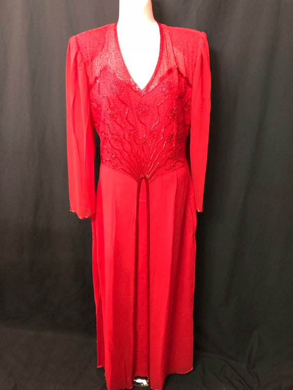 Red long Gown#8064