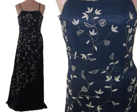 Navy Blue beaded dress # 9526