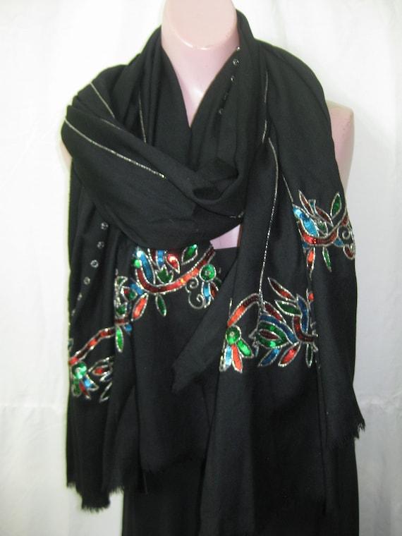 Black/multi sequins shawl
