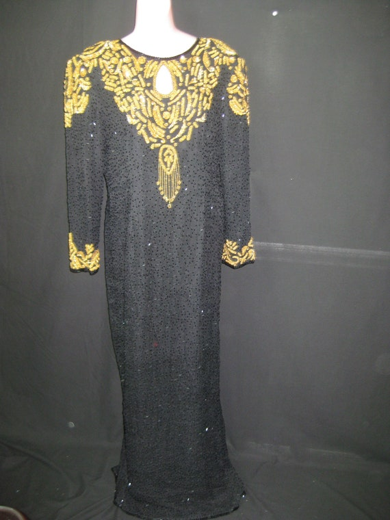 Black/gold gown#10022