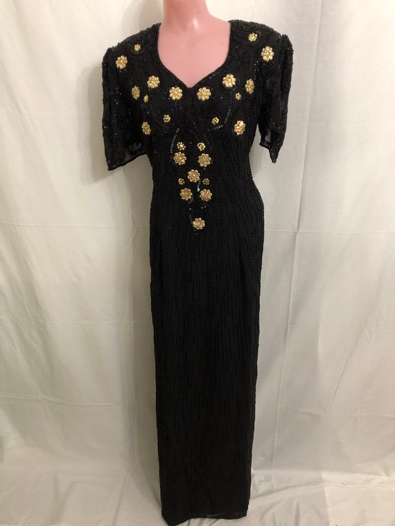 Long black/gold gown#1548