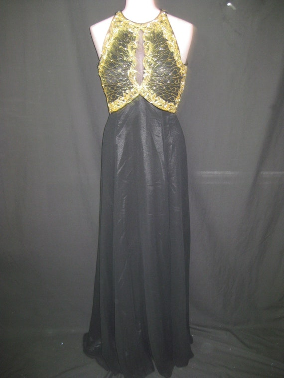 Black/gold gown#8067