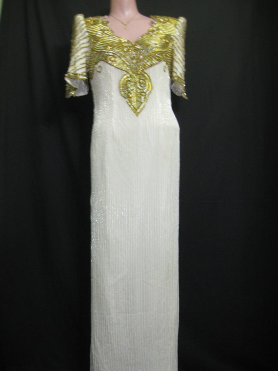 White/gold/silver gown # 785